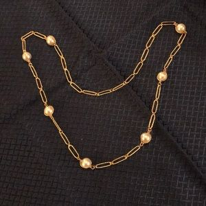 Avon Goldtone Rope Chain Link Pearl Necklace
